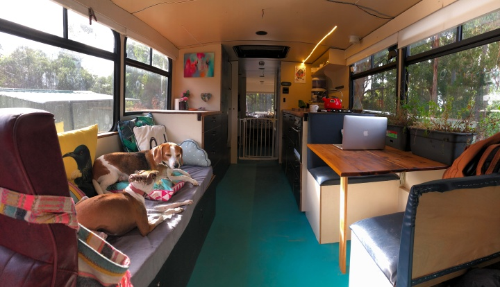 Meet the Tasmanian couple who sold their home and moved into an old school bus